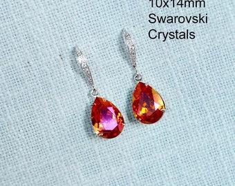 Handmade Small Swarovski Tangerine Astral Pink Crystal Teardrop Dangle Earrings, Bridal, Wedding (Sparkle-2768)