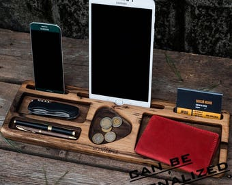 iPad dock station,iPad stand,iPhone wood stand,cell phone stand,wood organizer,gadget stand,desk organizer,iPhone stand,dad gift,ecowalnut