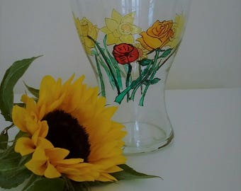 Hand painted glass vase, flowers,  daffodils, roses, poppy, gift for her, housewarming gift, birthday present, flower vase