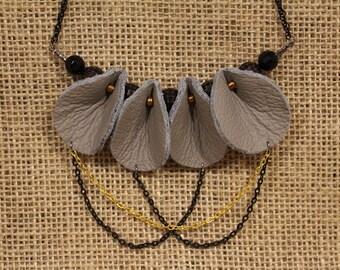 Spade Mini - Elephant Grey Leather Necklace with Geometric Beads