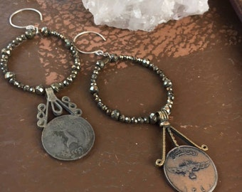 Pyrite & Antique Turkish Coin Earrings