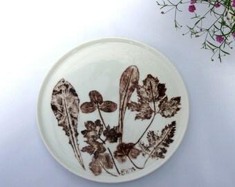 German Hand Painted Plate / Arzberg Porcelain / Brown / Leaf / Floral Design / White / Porcelain Plate / Arzberg Porzellan / Artist Signed