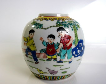 50s / Chinese / Children & Butterflies Vase / Mid Century / Famille Rose / Porcelain Vase / Ginger Jar / Hand Painted / Rare / Collectible