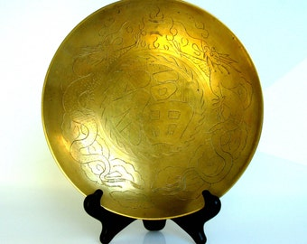 "Mid Century / Chinese / Dragon / Brass Bowl / Good Fortune / Hand Engraved / Hammered Brass / Chinese Brass / Large Bowl / 10"" / Authentic"