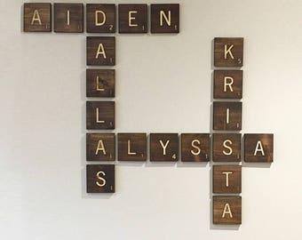 Large engraved letter tiles, custom family name sign, customized for family/living room decor, game room themed wooden tiles, family sign
