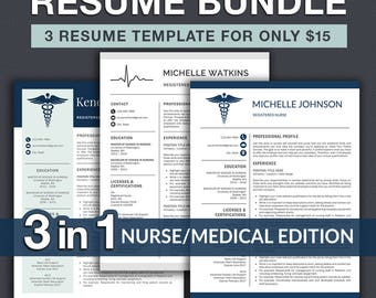 Nurse Resume Template / Doctor Resume Template for Word | Nurse CV | RN Nurse Resume | Doctor CV | Resume Instant Download