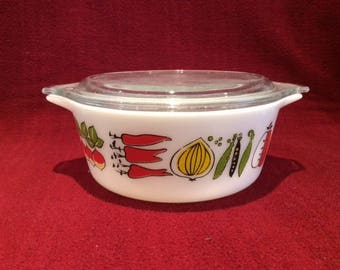 Pyrex JAJ Harvest Junior Space Saver 1.25 pint Casserole Dish 1960's
