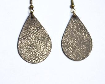 Brushed Pewter Brown Leather Earrings // Brown Mini Teardrop Leather Earrings--Sapling Style Earrings // Leather Earrings // Mini Teardrops
