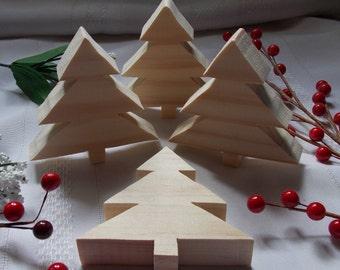 christmas trees small diy wood decorations set of four - Wood Christmas Trees