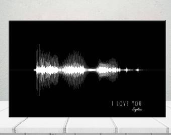 I Love You Custom Sound Wave Perfect Anniversary Birthday Gift Soundwave Waveform Canvas