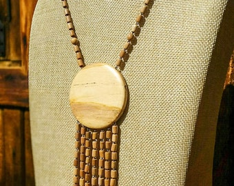 Wood Necklace Pendant, Wooden Necklace, Natural Wood Jewelry, Gift for Women