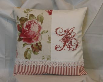 Embroidered Pillow, Monogram and old Roses * has *.