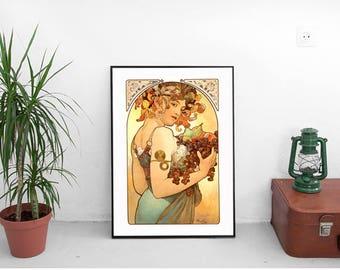 Alphonse Mucha Fruit Poster. Vintage Lady With Fruit. Vintage Girl in Wreath Brown Print. Fruit Lady. Vintage Print. Art Nouveau print