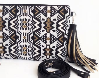 Gold Black Crossbody bags Gift for woman Boho Bag Tribal Clutch bag Chic Handbag Vegan leather bag Shoulder bag