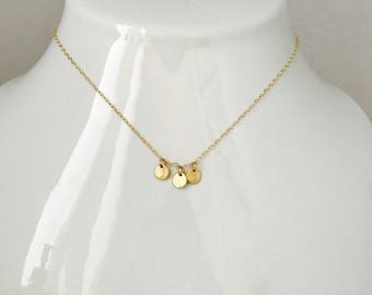 Gold Disc Necklace Three coin Necklace Layering necklace  Minimalist Necklace Dainty Necklace Gold Disk Necklace Boho Necklace