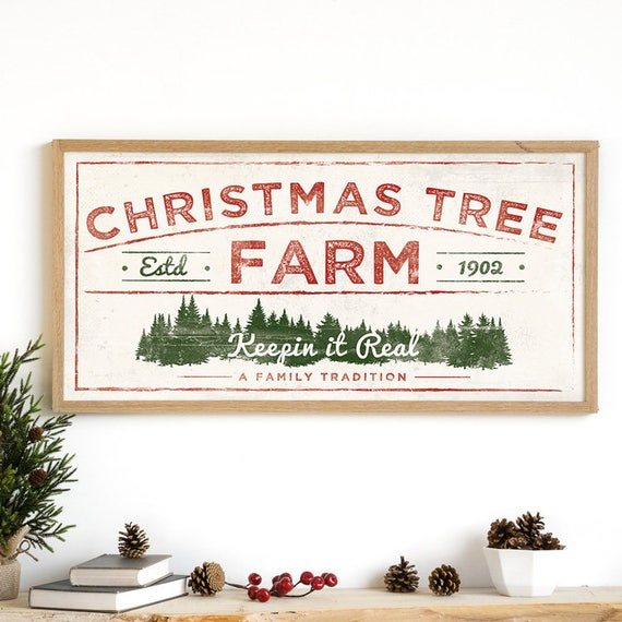 Christmas Sign Decorations: Christmas Tree Print Christmas Tree Farm Rustic Holiday
