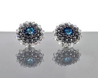 Blue Swarovski Crystal Stud earrings, Sterling Silver Beadwoven Bermuda Blue Studs, Sparkly Swarovski Beaded Beadwork Seed bead jewelry