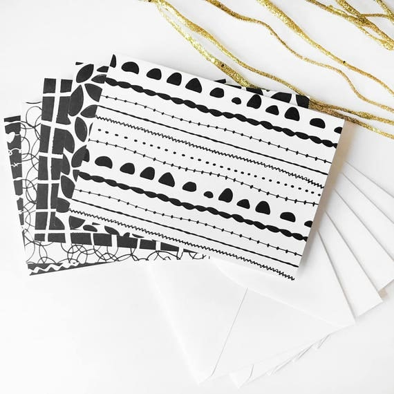 Black & White Note Cards - Set of 5 (5 Designs, 1 Card of Each) - Sustainably Sourced Paper