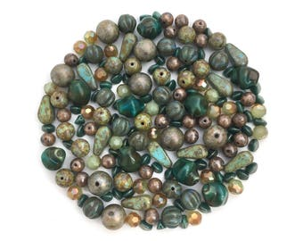 Earthy Bead Mix, Assorted Bead, Bead Soup, Czech Pressed Glass Bead, Picasso Green, DIY Jewelry, Wholesale, BM080