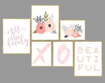Floral Nursery Art Printable set of 6 girls nursery pink coral lovely set of 6 girl gallery wall digital art prints 11x14 and 8x10  download