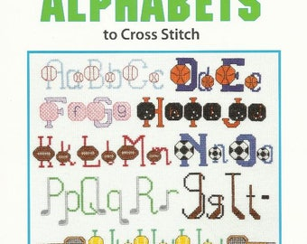 SPORTS ALPHABETS Cross Stitch Pattern Book from Leisure Arts - Brand New - Football - Basketball - Soccer - Tennis - Golf and More