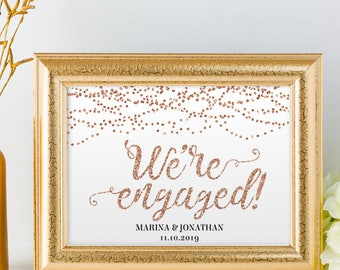 """Printable Rose Gold Foil Look We're Engaged String Lights Sign, 2 Sizes: 14""""X11"""" and 10""""x8"""", Editable PDF, Instant Download"""