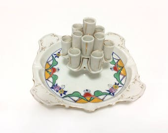 Vintage & rare TK Thuny porcelain candle/cigarette holder, ashtray, Czechoslovakia (Count Thun Porcelain Factory).