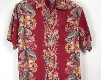 Vintage Hawaiian Shirt Edwin Guitar Aloha Rayon fit L Large