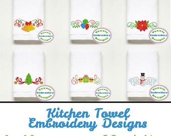 Set of 6 - Christmas Towel Designs