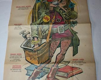 1968 Topps Krazy People Poster TEENY BOPPER Jack Davis Artist