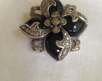 Sterling Silver Onyx and Marcasite Brooch or Pendant