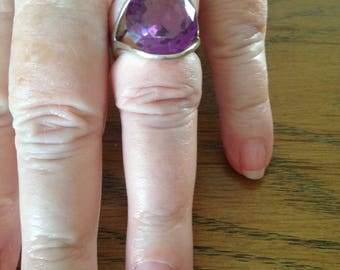 Sterling Silver Synthetic Alexandrite Purple Stone Ring