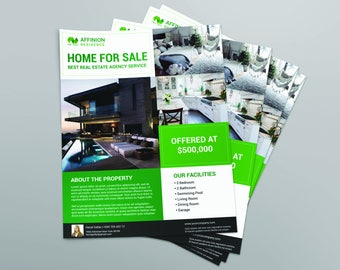 Real Estate Flyer   For Sale   Photoshop Flyer   Instant Download   8.5x11  Home For Sale Brochure
