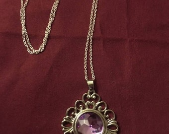 Trendy Silver Interchangeable Snap Necklace with a Sparkling 18mm Purple Snap