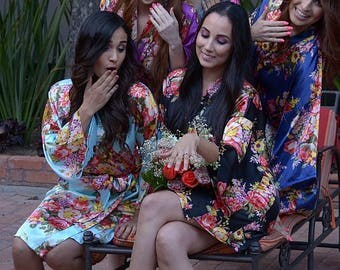 Floral Silk Satin Spa Robe For Bride And Bridesmaid Mother Of The Bride Maid Of Honor Bride To Be Spa