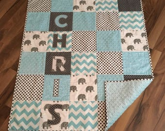 Baby quilt handmade etsy ca minky baby quilt personalized handmade crib quilt personalized baby gift negle Image collections