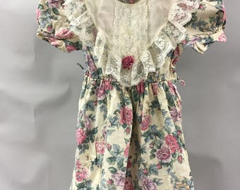 Light Floral Girl's Ruffly Lace Dress Size 6 Made in the USA | Puffy Sleeve | Prairie Dress | 80s does Victorian | Couch Floral |