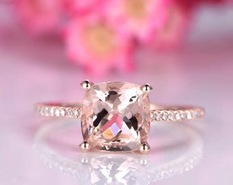 Big morganite engagement ring 8mm cushion cut morganite ring delicate diamond wedding band 14k rose gold promise ring solitaire ring