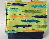 Lenkertasche für Jungs Fahrradtasche Tiere Krokodile blau grün