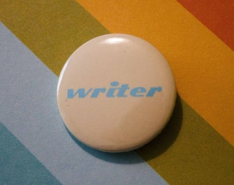 Writer Badge 25mm Pinback Button Yellow