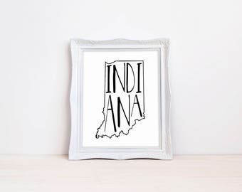 "Indiana State Print || 8""x10"" Indiana Wall Art Sign 