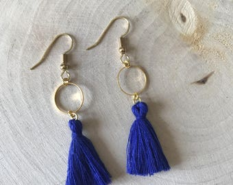 Blue tassel and gold connector earrings