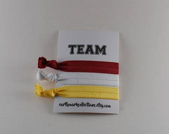 Team Hairties   Red Gold White   Set of 3 FOE Hair ties   College University Sports Hairbands   No Crease Football Ponytail holders