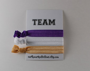 Team Hairties   Purple Gold White   Set of 3 FOE Hair ties   College University Sports Hairbands   No Crease Football Ponytail holders