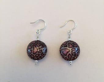 Pink camouflage Murano Glass Earrings