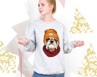 Dog Sweatshirt Dog Sweater Cool Dog Hoodie with Dog Graphic Sweatshirt Graphic Pullover Animal Print Sweatshirt Baggy Pullover PA3032