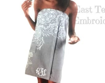 Monogram Towel Wrap - Personalized Towel Wrap - Custom Bath Towel Wrap - Shower Wrap - Gift for her - Graduation Gift - College Gift