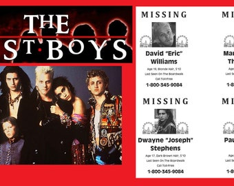 The Lost Boys 1987 Missing Posters Set Of 4 > David Williams > Kiefer Sutherland > Vampires
