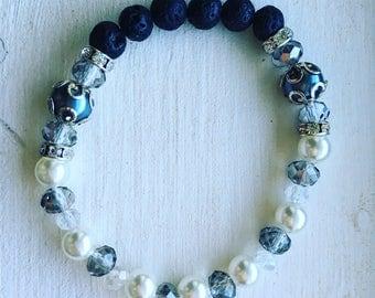 Gray White pearl Lava bead bracelet