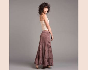 Gauze Cotton Boho Gypsy Tiered Maxi Skirt in DESERT ROSE // Pockets, Natural Fiber, Flexible Waistband / Breathable Elegance!